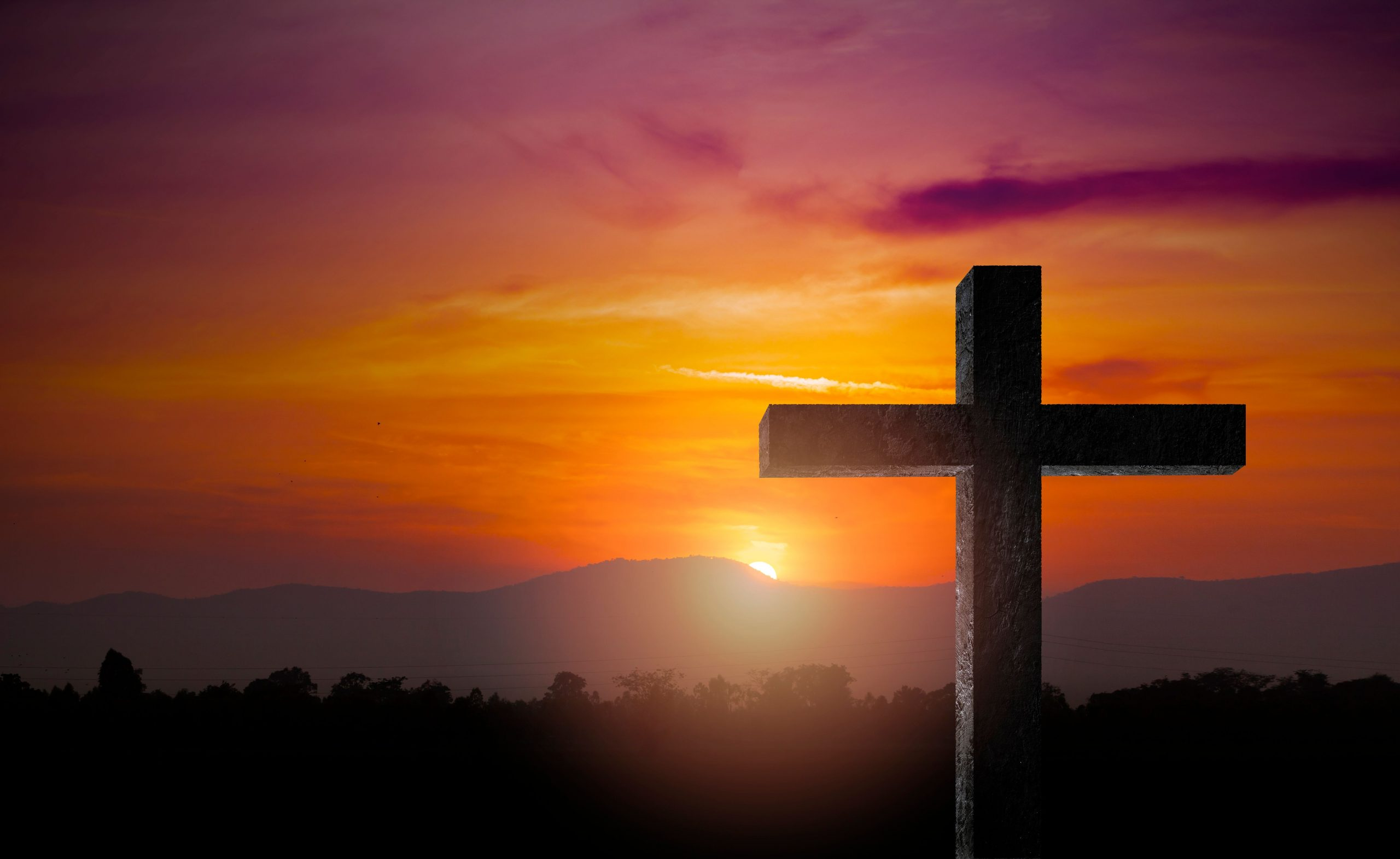 silhouette-of-crucifix-cross-time-for-background-AZD4PVR
